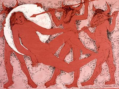 Auf Mond schlafendes Mädchen von Minotauren bedrängt
