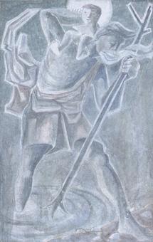 Christophorus Wandbild an der Schlachtkapelle Morgarten