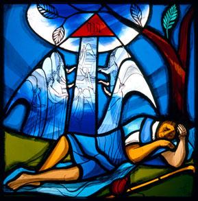 Jakobs Traum Scheibe aus dem Zyklus im Kreuzgang Dominikanerinnenkloster St. Peter, Schwyz